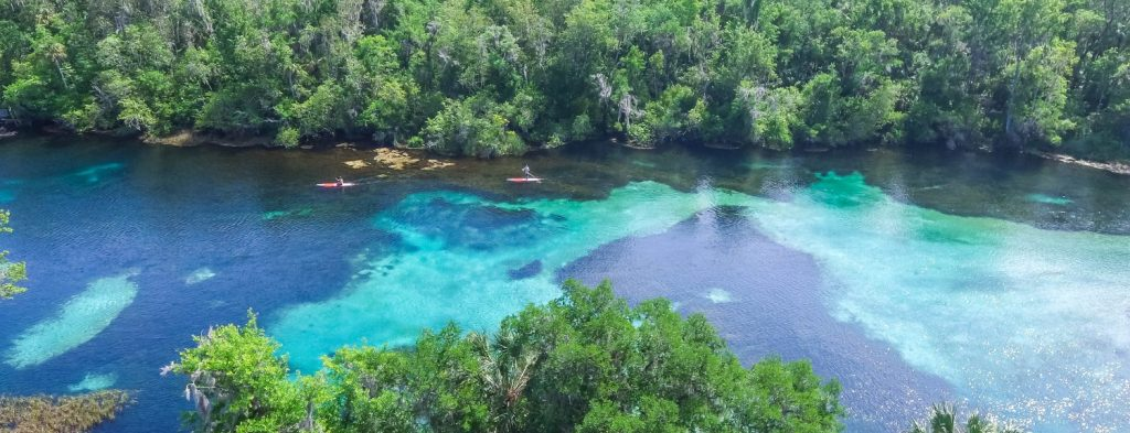 aerial of rainbow river in dunnellon florida