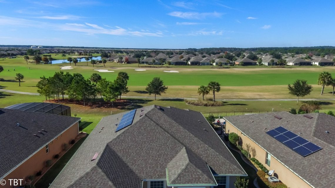 aerial of golf course in stone creek subdivision in ocala florida