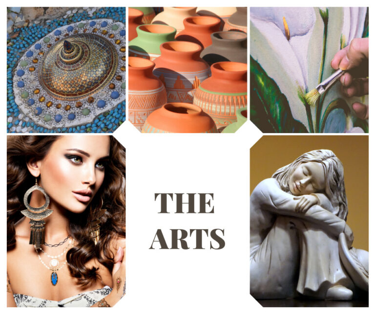 collage of jewelry, sculpture, painting and jewelry
